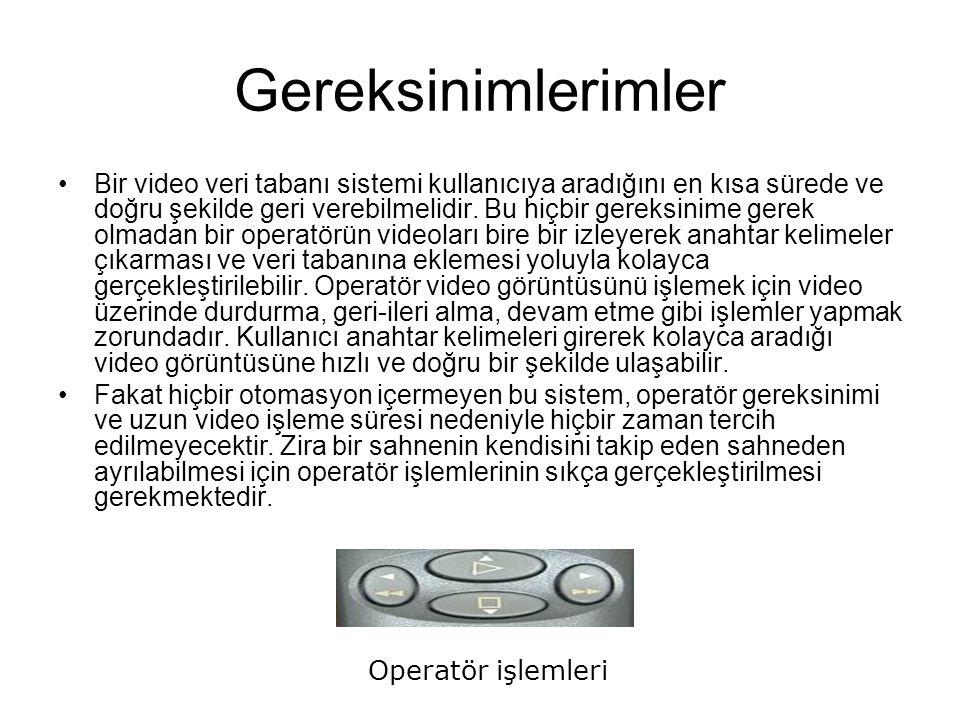 Gereksinimlerimler Bir video veri tabanı sistemi kullanıcıya aradığını en kısa sürede ve doğru şekilde geri verebilmelidir.