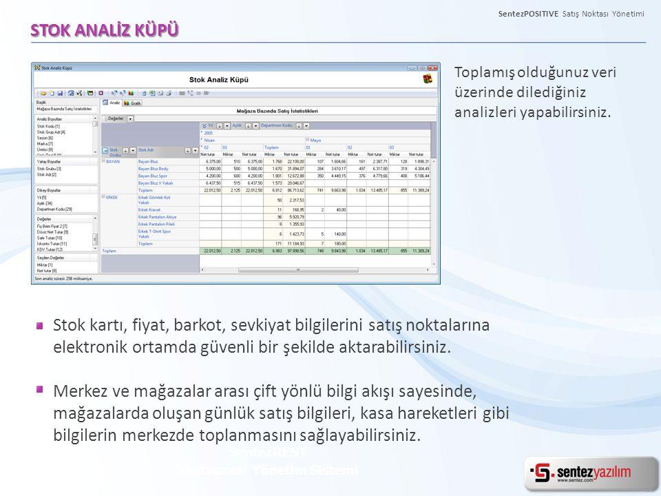 SentezPOSITIVE Satış Noktası Yönetimi STOK ANALİZ KÜPÜ SentezREST Restaurant Yönetim Sistemi Toplamış olduğunuz veri üzerinde dilediğiniz analizleri y