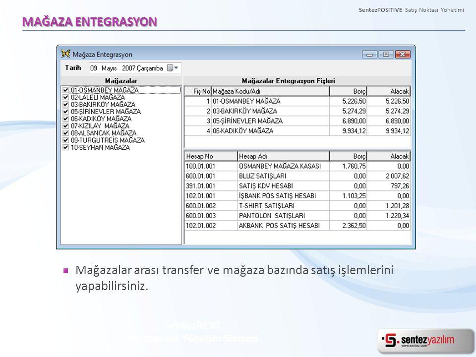 SentezPOSITIVE Satış Noktası Yönetimi MAĞAZA ENTEGRASYON SentezREST Restaurant Yönetim Sistemi Mağazalar arası transfer ve mağaza bazında satış işleml