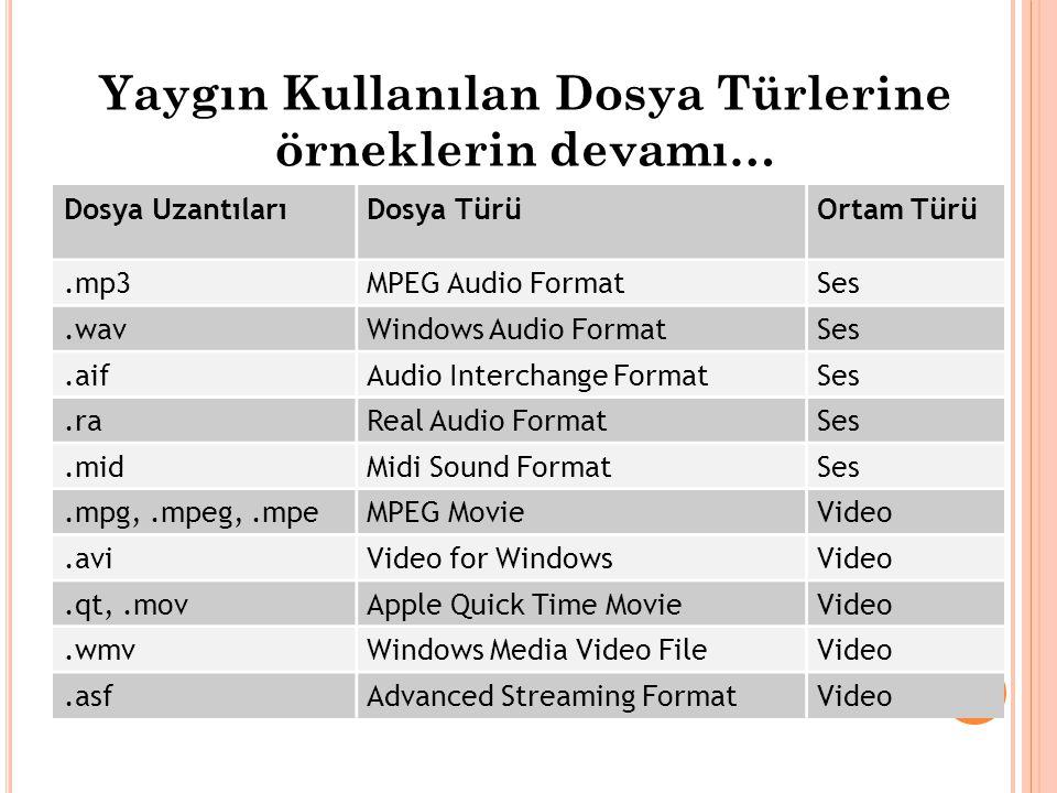 Yaygın Kullanılan Dosya Türlerine örneklerin devamı… Dosya UzantılarıDosya TürüOrtam Türü.mp3MPEG Audio FormatSes.wavWindows Audio FormatSes.aifAudio