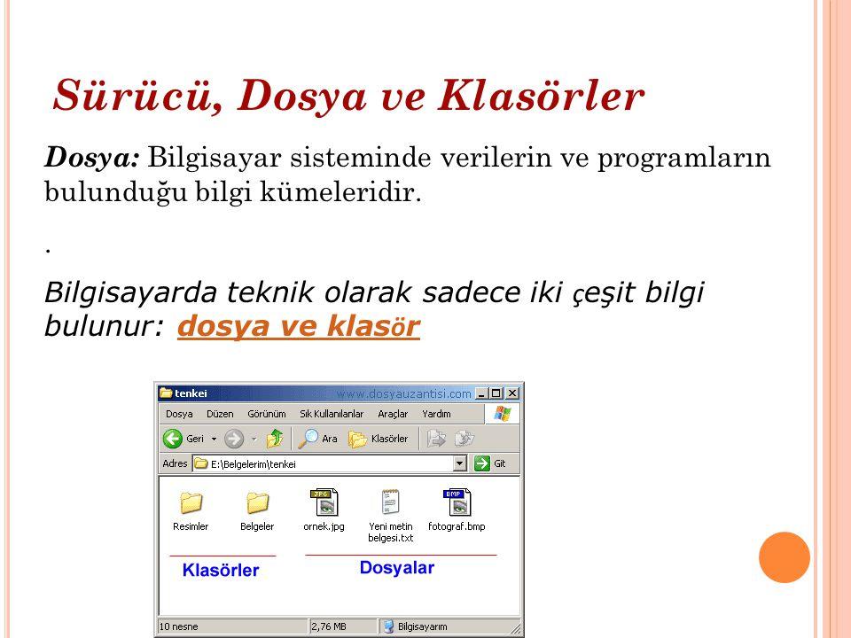 Bir bilgisayar sisteminde değişik dosya türleri bulunabilir.