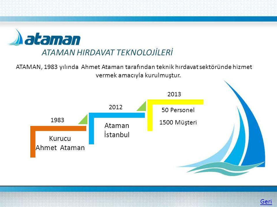 ATAMAN HIRDAVAT TEKNOLOJİLERİ ATAMAN, 1983 yılında Ahmet Ataman tarafından teknik hırdavat sektöründe hizmet vermek amacıyla kurulmuştur. Kurucu Ahmet