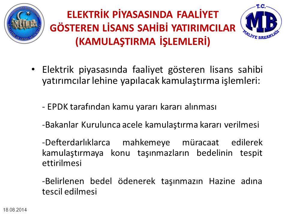 18.08.2014 ELEKTRİK PİYASASINDA FAALİYET GÖSTEREN LİSANS SAHİBİ YATIRIMCILAR (KAMULAŞTIRMA İŞLEMLERİ) Elektrik piyasasında faaliyet gösteren lisans sa