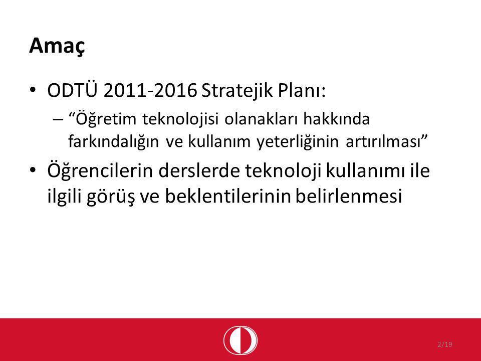 Amaç ODTÜ 2011-2016 Stratejik Planı: – Öğretim teknolojisi olanakları hakkında farkındalığın ve kullanım yeterliğinin artırılması Öğrencilerin derslerde teknoloji kullanımı ile ilgili görüş ve beklentilerinin belirlenmesi 2/19