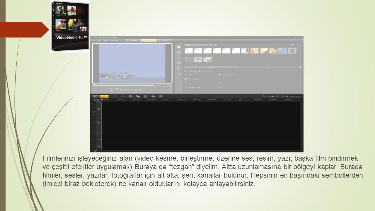 """Filmlerinizi işleyeceğiniz alan (video kesme, birleştirme, üzerine ses, resim, yazı, başka film bindirmek ve çeşitli efektler uygulamak) Buraya da """"te"""