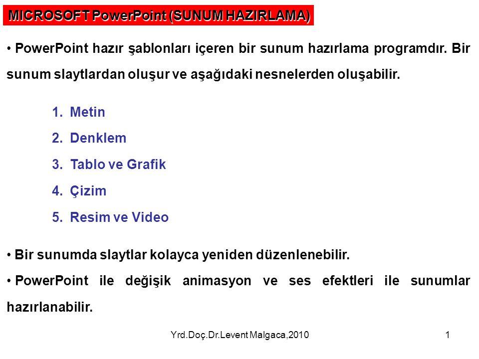 Yrd.Doç.Dr.Levent Malgaca,20101 MICROSOFT PowerPoint (SUNUM HAZIRLAMA) PowerPoint hazır şablonları içeren bir sunum hazırlama programdır.