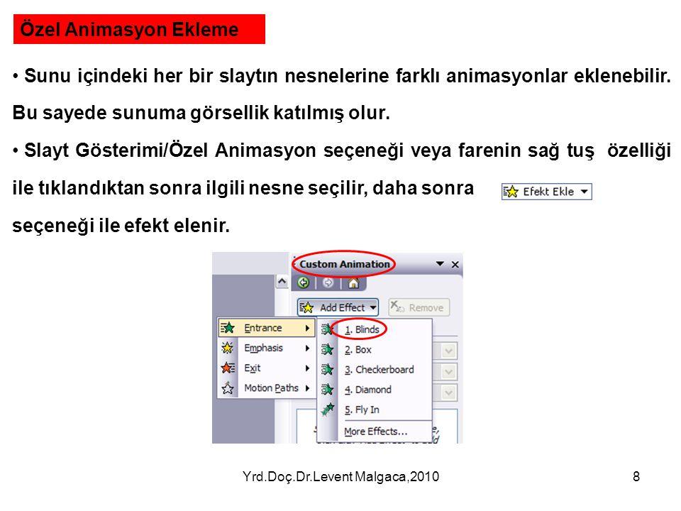 Yrd.Doç.Dr.Levent Malgaca,20107 5.Resim ve Video Ekleme PowerPoint' de önceden oluşturulmuş veya hazır resim ve videolar eklenebilir. Bu sayede sunuma