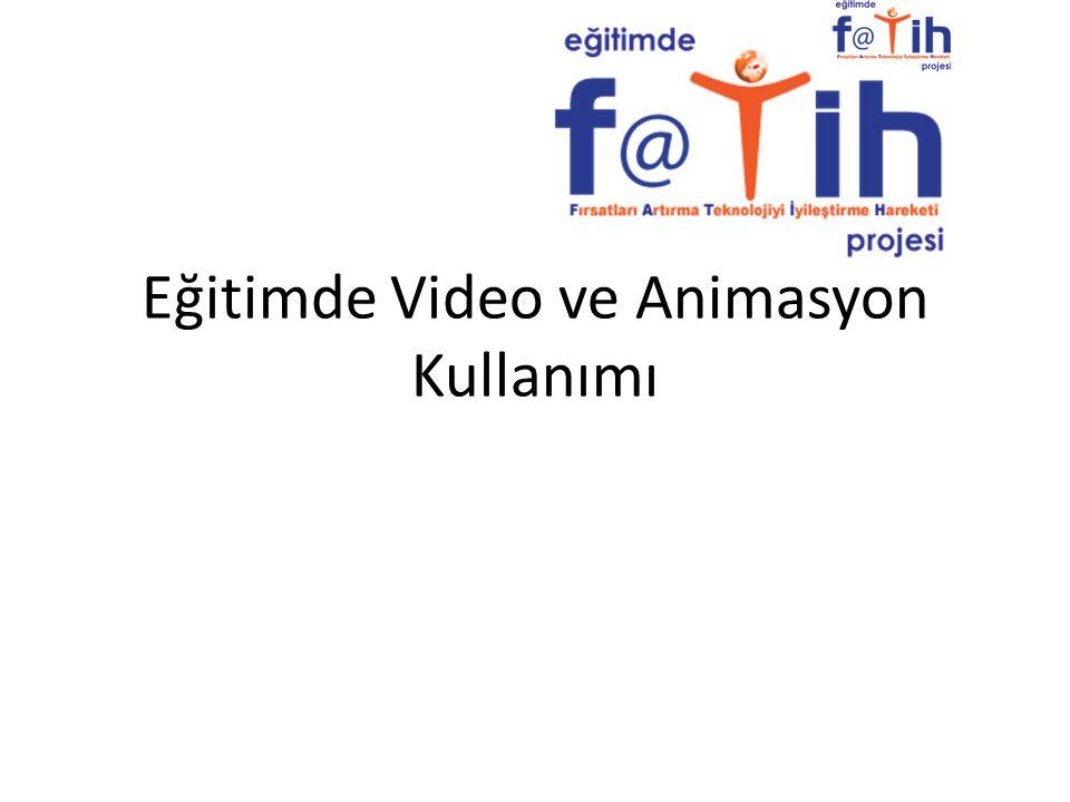 Kapsam Eğitim Ortamlarında Video ve Animasyon Kullanımının Faydaları Video Türleri – Ders anlatım videoları – Belgesel tarzı tanıtım videoları – Animasyonlar – Ekran kayıt videoları – Örnek olay videoları Video ve Animasyon Kullanırken Dikkat Edilmesi Gereken Noktalar Video ve Animasyon Kullanım Kılavuzu – Ön Hazırlık – Gösterim – Gösterim Sonrası Etkinlik