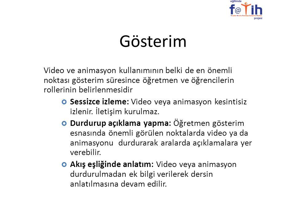 Gösterim Video ve animasyon kullanımının belki de en önemli noktası gösterim süresince öğretmen ve öğrencilerin rollerinin belirlenmesidir  Sessizce
