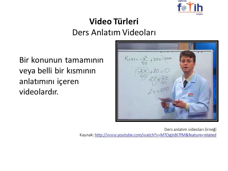 Video Türleri Ders Anlatım Videoları Bir konunun tamamının veya belli bir kısmının anlatımını içeren videolardır. Ders anlatım videoları örneği Kaynak