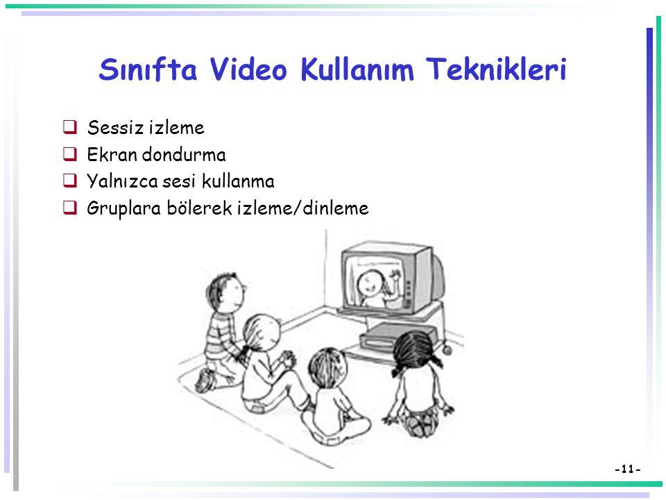 -10- Eğitimde Video Kullanımının Getirileri (2)  Bilginin sunuluşunda ve akışında düzen sağlar,  Öğrenci tepkilerini gözleme olanağı verir,  Hareket, renk, ses boyutlarıyla öğrenmeyi kolaylaştırır,  Sınıf dışı olgu ve olayları sınıf içine getirir,  Somut ve kalıcı öğrenmeler sağlar.