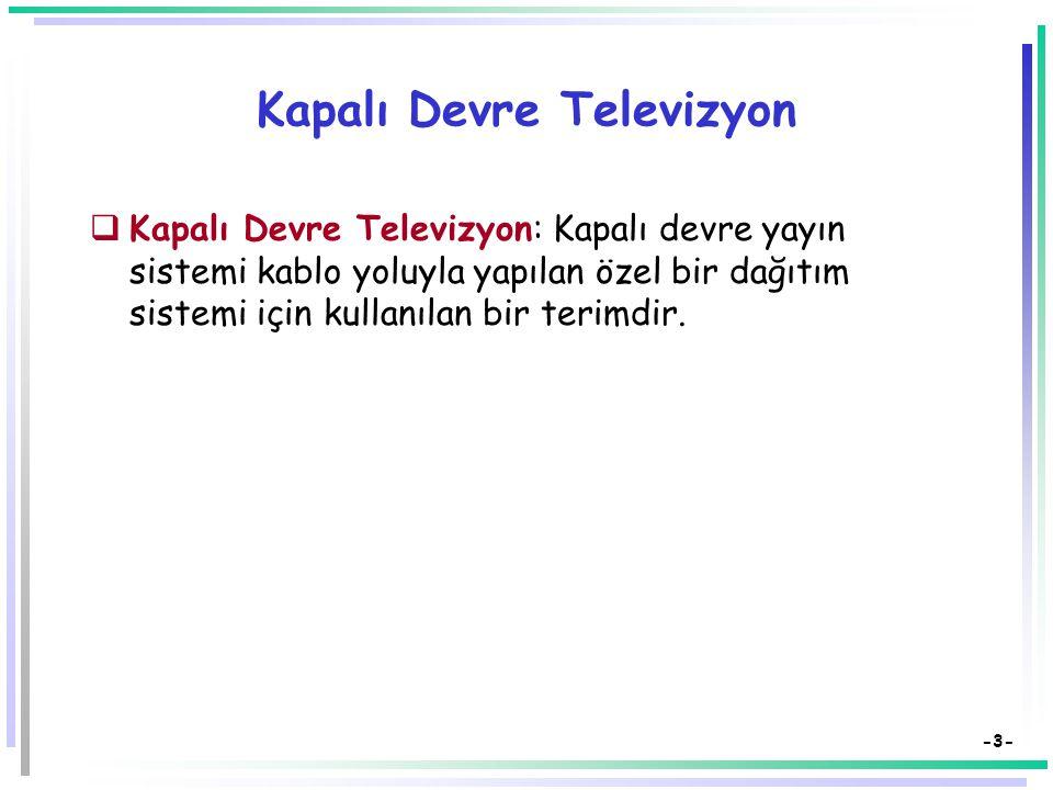 -3- Kapalı Devre Televizyon  Kapalı Devre Televizyon: Kapalı devre yayın sistemi kablo yoluyla yapılan özel bir dağıtım sistemi için kullanılan bir terimdir.