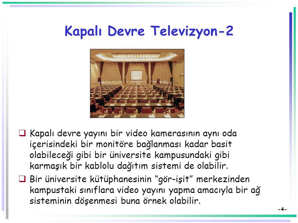 -4- Kapalı Devre Televizyon-2  Kapalı devre yayını bir video kamerasının aynı oda içerisindeki bir monitöre bağlanması kadar basit olabileceği gibi bir üniversite kampusundaki gibi karmaşık bir kablolu dağıtım sistemi de olabilir.
