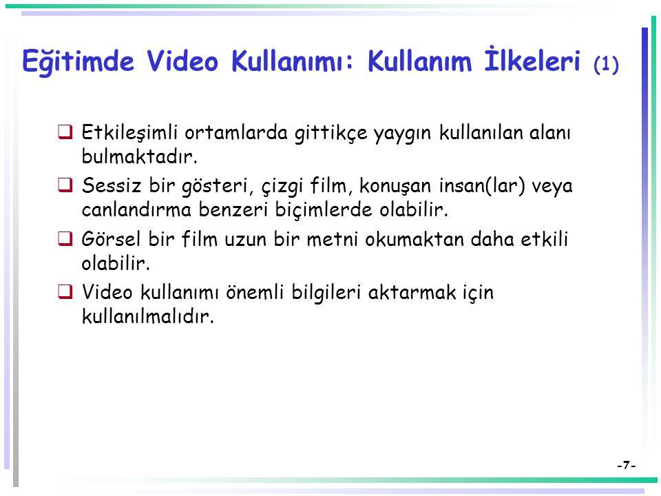 -7- Eğitimde Video Kullanımı: Kullanım İlkeleri (1)  Etkileşimli ortamlarda gittikçe yaygın kullanılan alanı bulmaktadır.