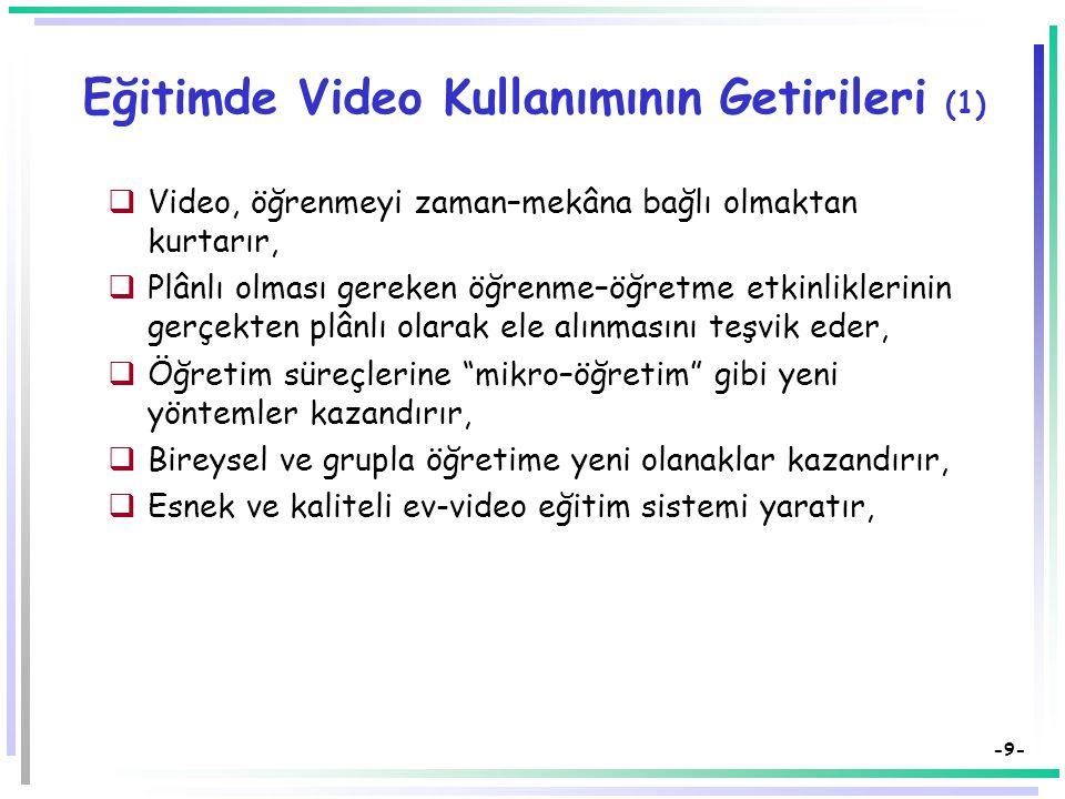 -9- Eğitimde Video Kullanımının Getirileri (1)  Video, öğrenmeyi zaman–mekâna bağlı olmaktan kurtarır,  Plânlı olması gereken öğrenme–öğretme etkinliklerinin gerçekten plânlı olarak ele alınmasını teşvik eder,  Öğretim süreçlerine mikro–öğretim gibi yeni yöntemler kazandırır,  Bireysel ve grupla öğretime yeni olanaklar kazandırır,  Esnek ve kaliteli ev-video eğitim sistemi yaratır,