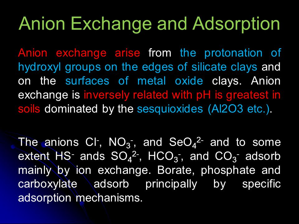 Anion Exchange and Adsorption Anion exchange arise from the protonation of hydroxyl groups on the edges of silicate clays and on the surfaces of metal