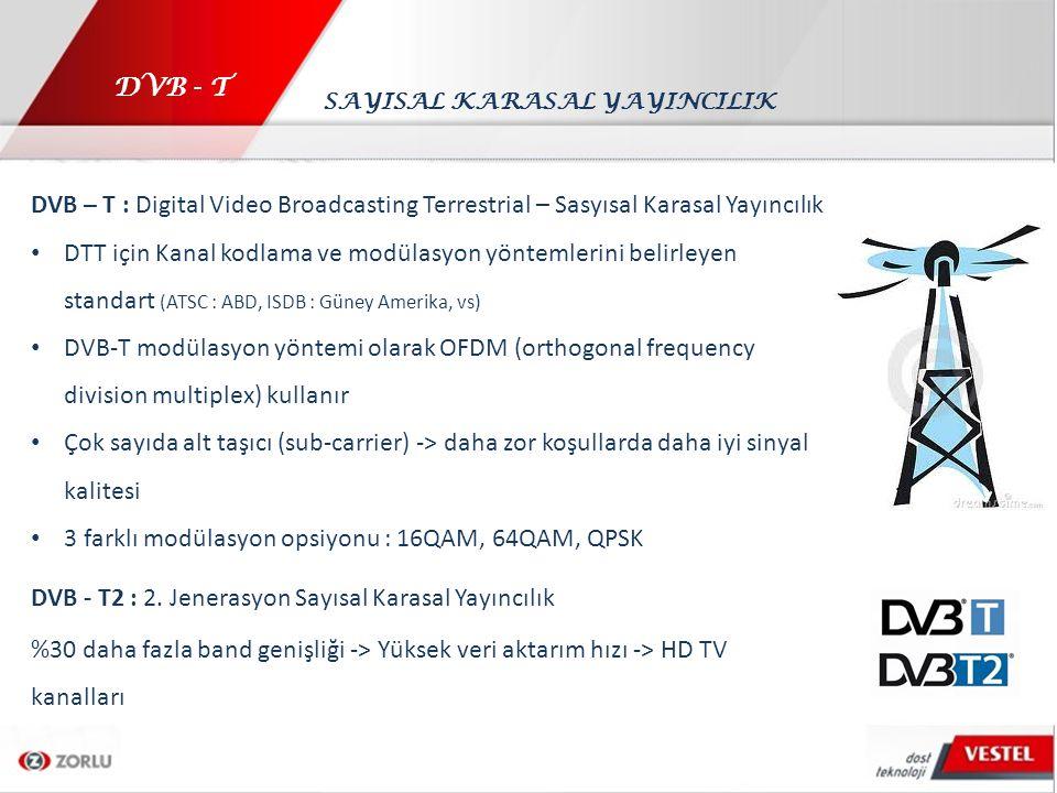 DVB - T DVB – T : Digital Video Broadcasting Terrestrial – Sasyısal Karasal Yayıncılık DTT için Kanal kodlama ve modülasyon yöntemlerini belirleyen st