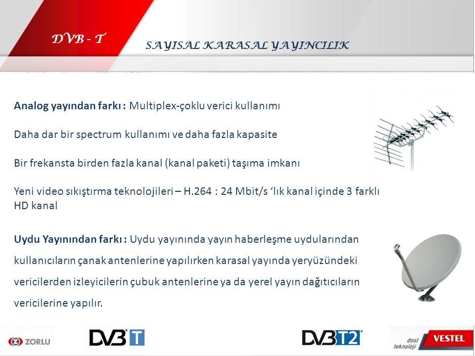 DVB - T Analog yayından farkı : Multiplex-çoklu verici kullanımı Daha dar bir spectrum kullanımı ve daha fazla kapasite Bir frekansta birden fazla kan