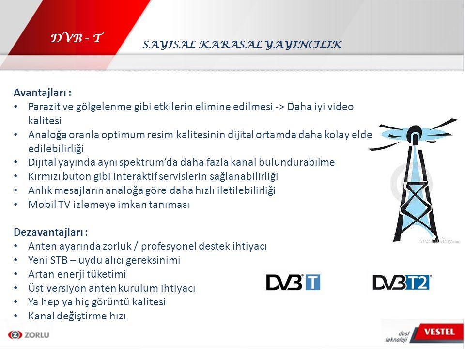 DVB - T Avantajları : Parazit ve gölgelenme gibi etkilerin elimine edilmesi -> Daha iyi video kalitesi Analoğa oranla optimum resim kalitesinin dijita