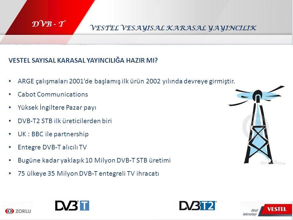 DVB - T VESTEL SAYISAL KARASAL YAYINCILIĞA HAZIR MI? ARGE çalışmaları 2001'de başlamış ilk ürün 2002 yılında devreye girmiştir. Cabot Communications Y