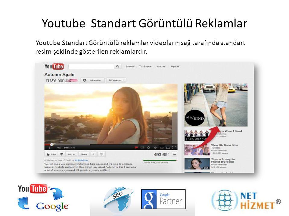 Youtube Standart Görüntülü reklamlar videoların sağ tarafında standart resim şeklinde gösterilen reklamlardır. Youtube Standart Görüntülü Reklamlar