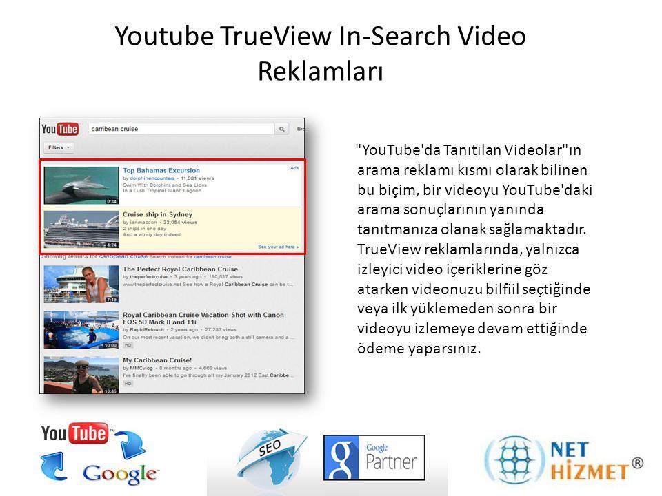 YouTube da Tanıtılan Videolar; yer paylaşımı, tanıtılan video önerileri, ilgili videolar ve Google Tıkla Oynat gibi reklam çeşitlerini kapsamaktadır.