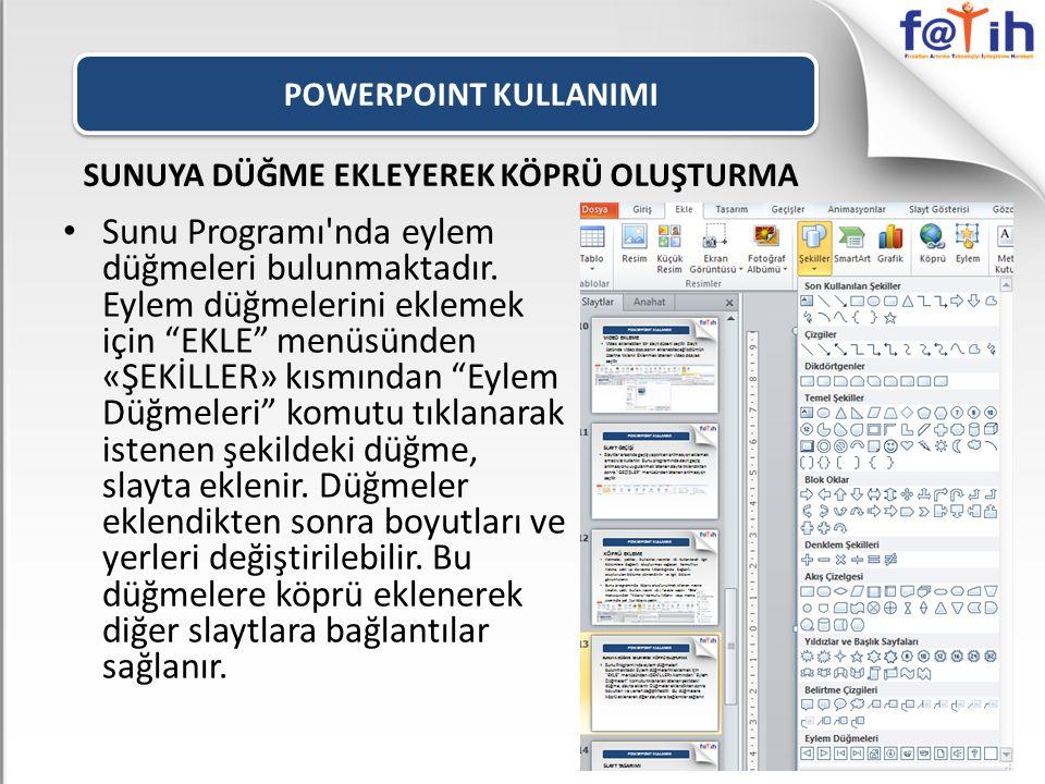 POWERPOINT KULLANIMI SUNUYA DÜĞME EKLEYEREK KÖPRÜ OLUŞTURMA Sunu Programı nda eylem düğmeleri bulunmaktadır.
