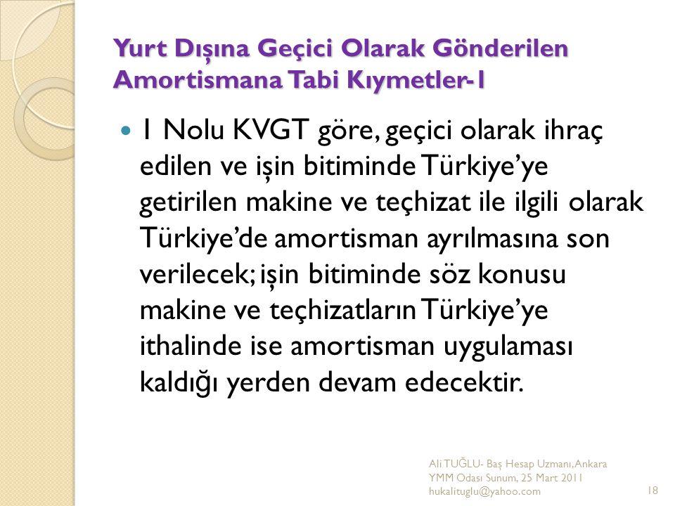 Yurt Dışına Geçici Olarak Gönderilen Amortismana Tabi Kıymetler-1 1 Nolu KVGT göre, geçici olarak ihraç edilen ve işin bitiminde Türkiye'ye getirilen