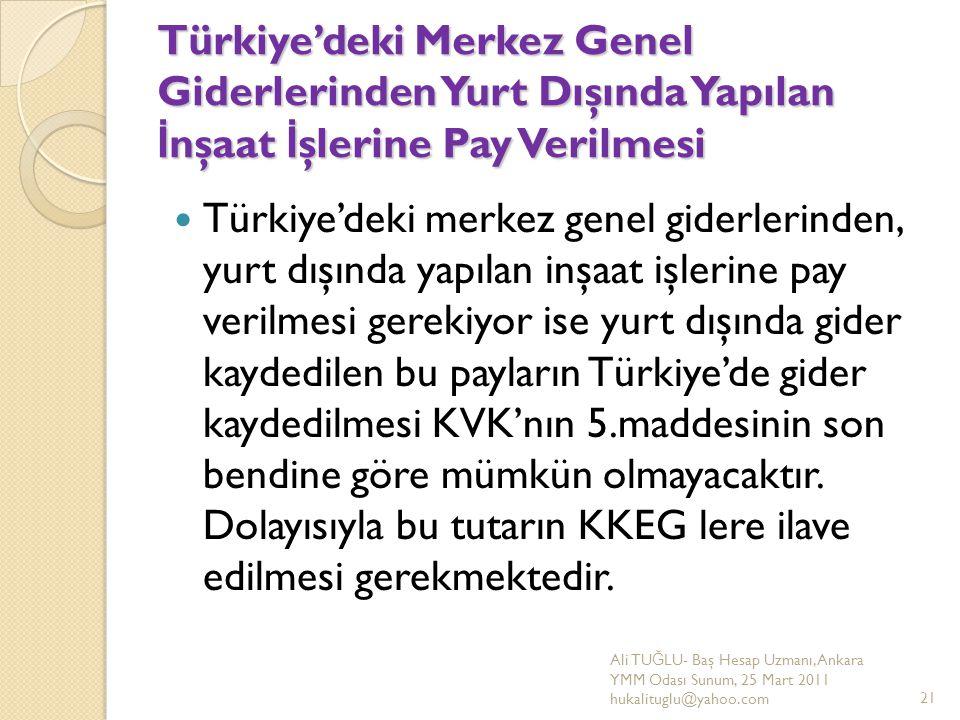 Türkiye'deki Merkez Genel Giderlerinden Yurt Dışında Yapılan İ nşaat İ şlerine Pay Verilmesi Türkiye'deki merkez genel giderlerinden, yurt dışında yap