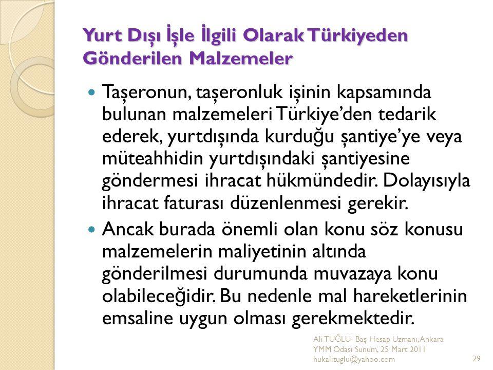 Yurt Dışı İ şle İ lgili Olarak Türkiyeden Gönderilen Malzemeler Taşeronun, taşeronluk işinin kapsamında bulunan malzemeleri Türkiye'den tedarik ederek
