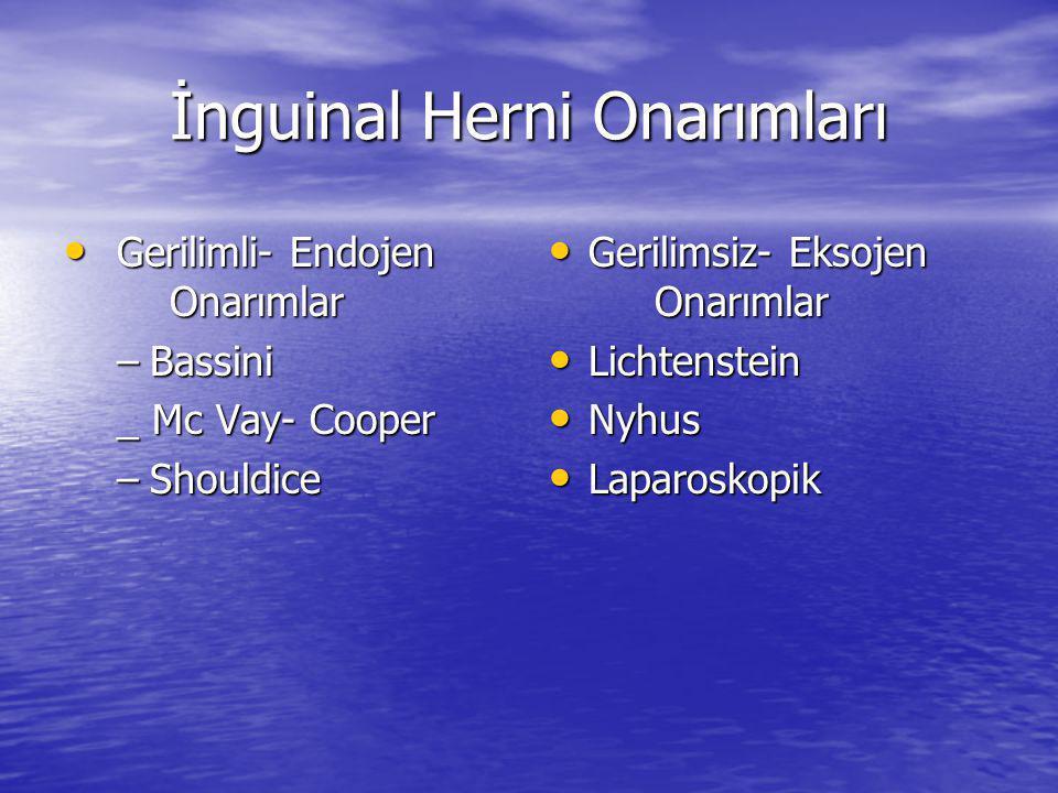 İnguinal Herni Onarımları Gerilimli- Endojen Onarımlar Gerilimli- Endojen Onarımlar –Bassini _ Mc Vay- Cooper –Shouldice Gerilimsiz- Eksojen Onarımlar