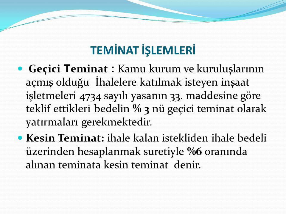 TEMİNAT İŞLEMLERİ Geçici T eminat : Kamu kurum ve kuruluşlarının açmış olduğu İhalelere katılmak isteyen inşaat işletmeleri 4734 sayılı yasanın 33.