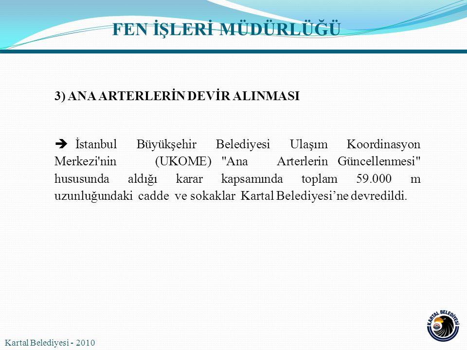 3) ANA ARTERLERİN DEVİR ALINMASI  İstanbul Büyükşehir Belediyesi Ulaşım Koordinasyon Merkezi'nin (UKOME)