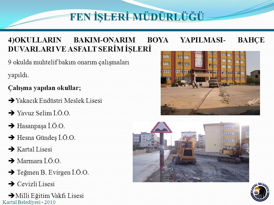 3) ANA ARTERLERİN DEVİR ALINMASI  İstanbul Büyükşehir Belediyesi Ulaşım Koordinasyon Merkezi nin (UKOME) Ana Arterlerin Güncellenmesi hususunda aldığı karar kapsamında toplam 59.000 m uzunluğundaki cadde ve sokaklar Kartal Belediyesi'ne devredildi.