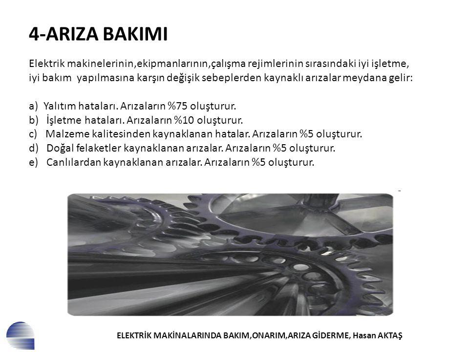 ELEKTRİK MAKİNALARINDA BAKIM,ONARIM,ARIZA GİDERME, Hasan AKTAŞ 4-ARIZA BAKIMI Elektrik makinelerinin,ekipmanlarının,çalışma rejimlerinin sırasındaki i