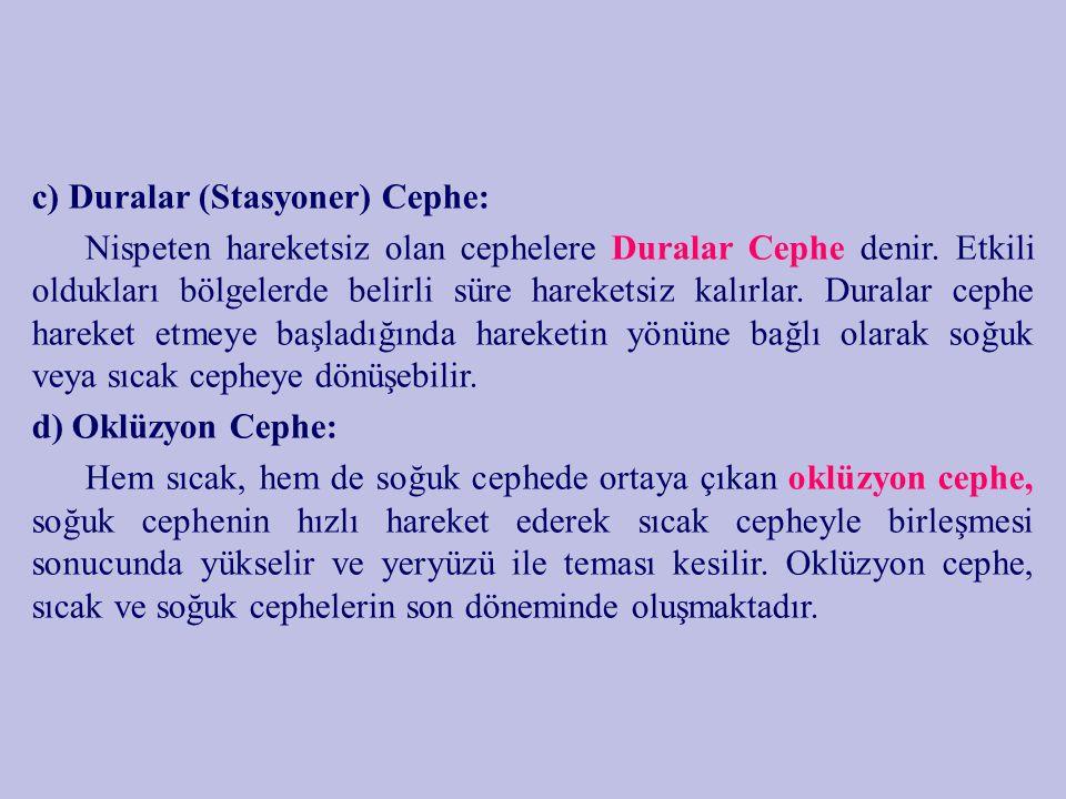 c) Duralar (Stasyoner) Cephe: Nispeten hareketsiz olan cephelere Duralar Cephe denir. Etkili oldukları bölgelerde belirli süre hareketsiz kalırlar. Du