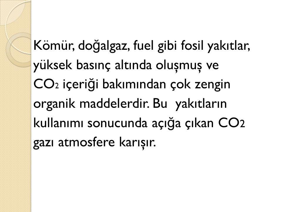 Kömür, do ğ algaz, fuel gibi fosil yakıtlar, yüksek basınç altında oluşmuş ve CO 2 içeri ğ i bakımından çok zengin organik maddelerdir. Bu yakıtların