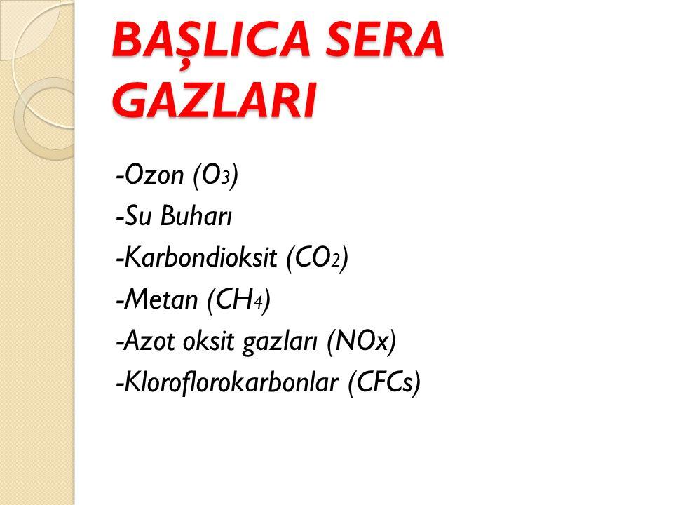 BAŞLICA SERA GAZLARI -Ozon (O 3 ) -Su Buharı -Karbondioksit (CO 2 ) -Metan (CH 4 ) -Azot oksit gazları (NOx) -Kloroflorokarbonlar (CFCs)