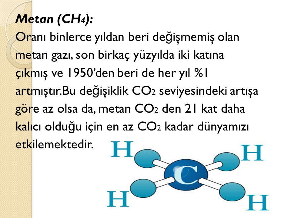 Metan (CH 4 ): Oranı binlerce yıldan beri de ğ işmemiş olan metan gazı, son birkaç yüzyılda iki katına çıkmış ve 1950'den beri de her yıl %1 artmıştır