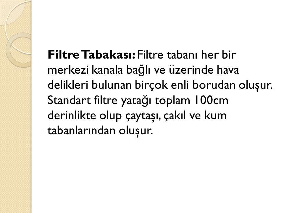 Filtre Tabakası: Filtre tabanı her bir merkezi kanala ba ğ lı ve üzerinde hava delikleri bulunan birçok enli borudan oluşur. Standart filtre yata ğ ı