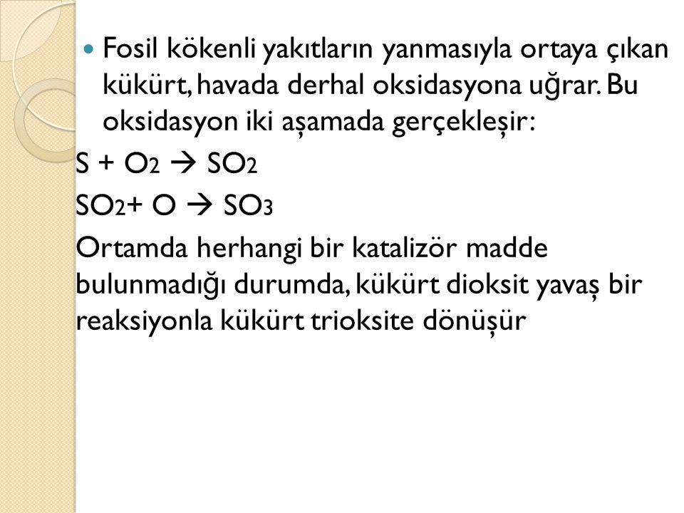 Fosil kökenli yakıtların yanmasıyla ortaya çıkan kükürt, havada derhal oksidasyona u ğ rar. Bu oksidasyon iki aşamada gerçekleşir: S + O 2  SO 2 SO 2