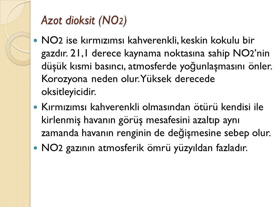 Azot dioksit (NO 2 ) Azot dioksit (NO 2 ) NO 2 ise kırmızımsı kahverenkli, keskin kokulu bir gazdır. 21,1 derece kaynama noktasına sahip NO 2 'nin düş