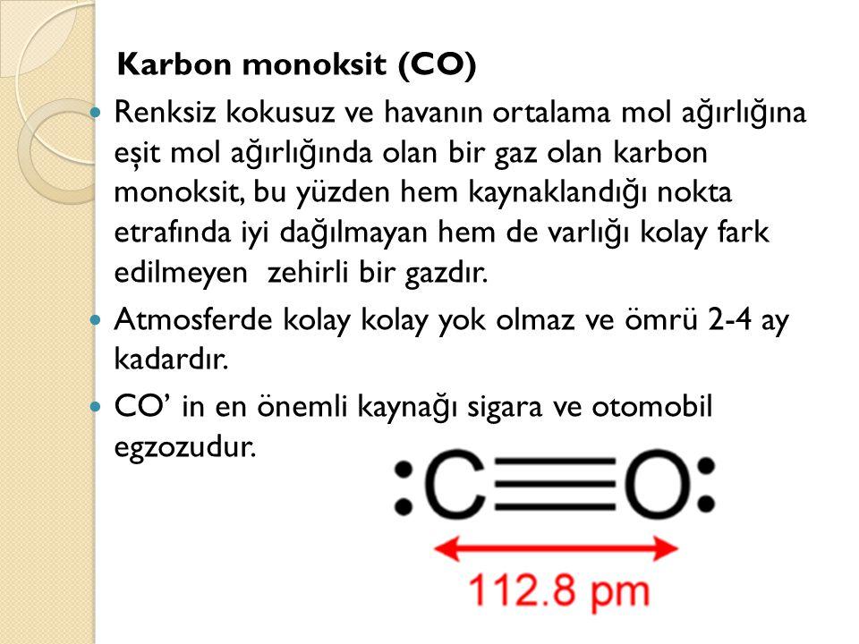 Karbon monoksit (CO) Renksiz kokusuz ve havanın ortalama mol a ğ ırlı ğ ına eşit mol a ğ ırlı ğ ında olan bir gaz olan karbon monoksit, bu yüzden hem