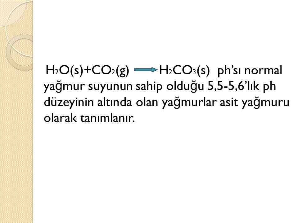 H 2 O(s)+CO 2 (g) H 2 CO 3 (s) ph'sı normal ya ğ mur suyunun sahip oldu ğ u 5,5-5,6'lık ph düzeyinin altında olan ya ğ murlar asit ya ğ muru olarak ta
