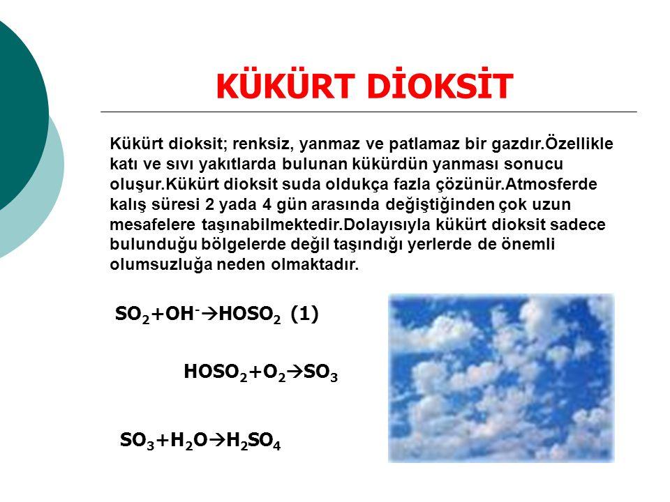 KÜKÜRT DİOKSİT Kükürt dioksit; renksiz, yanmaz ve patlamaz bir gazdır.Özellikle katı ve sıvı yakıtlarda bulunan kükürdün yanması sonucu oluşur.Kükürt