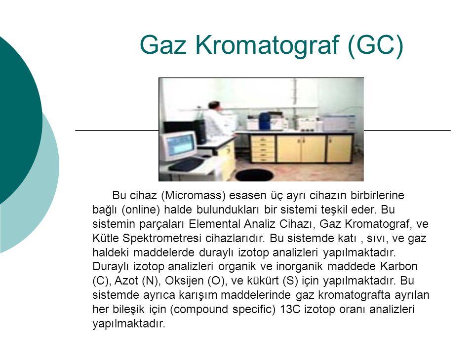 Bu cihaz (Micromass) esasen üç ayrı cihazın birbirlerine bağlı (online) halde bulundukları bir sistemi teşkil eder. Bu sistemin parçaları Elemental An