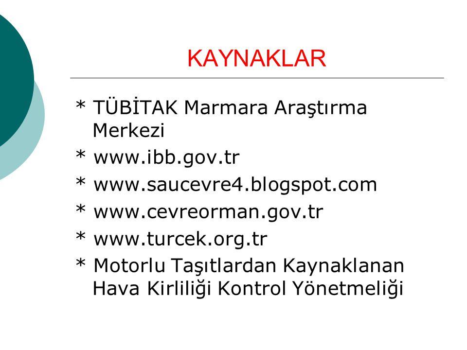 KAYNAKLAR * TÜBİTAK Marmara Araştırma Merkezi * www.ibb.gov.tr * www.saucevre4.blogspot.com * www.cevreorman.gov.tr * www.turcek.org.tr * Motorlu Taşı