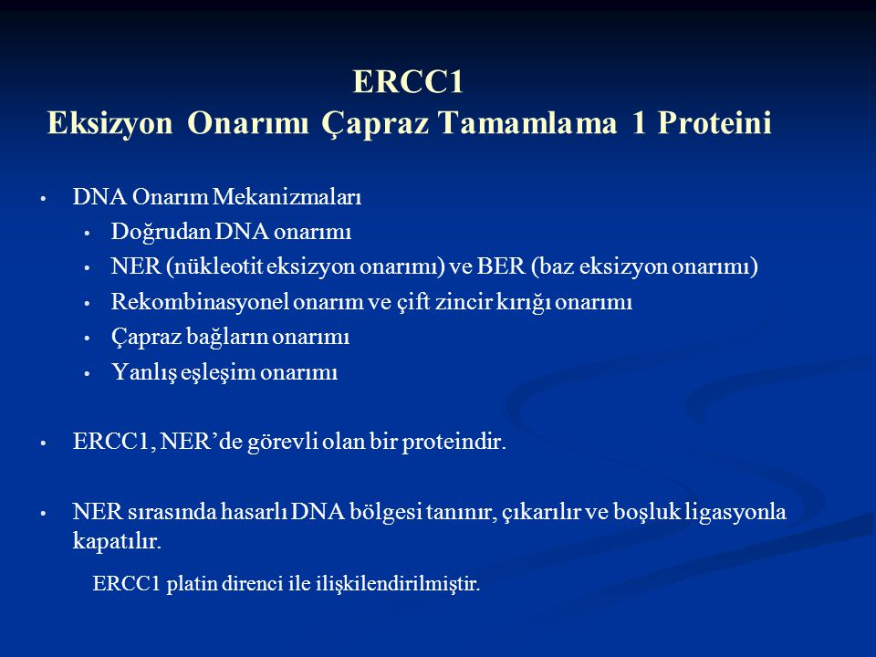 Tedaviye yanıt ile moleküler belirteçlerin ilişkisi Tedaviye yanıtlı (tam-kısmi) Hasta sayısı (%) Tedaviye yanıtsız Hasta sayısı (%) p ERCC1 < %50 ≥ %50 18 (54) 32 (74) 15 (46) 11 (26) 0,05 RRM1 < %50 ≥ %50 16 (61) 34 (68) 10 (39) 16 (32) 0,30 MMP7 < %50 ≥ %50 32 (68) 16 (61) 15 (32) 10 (39) 0,57 VEGF < %50 ≥ %50 24 (65) 19 (61) 13 (35) 12 (39) 0,76