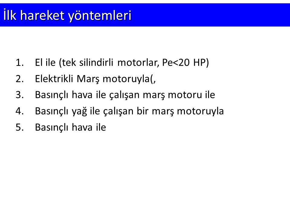 İlk hareket yöntemleri 1.El ile (tek silindirli motorlar, Pe<20 HP) 2.Elektrikli Marş motoruyla(, 3.Basınçlı hava ile çalışan marş motoru ile 4.Basınç