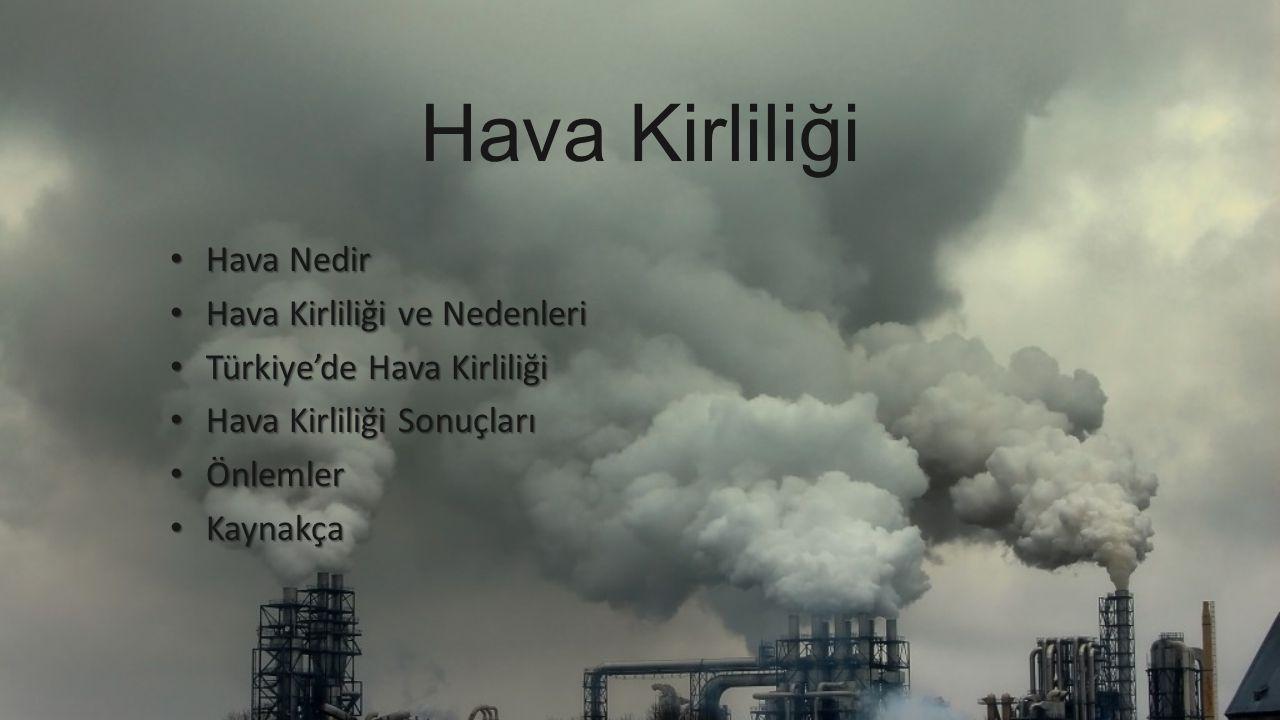 Hava Kirliliği Hava Nedir Hava Nedir Hava Kirliliği ve Nedenleri Hava Kirliliği ve Nedenleri Türkiye'de Hava Kirliliği Türkiye'de Hava Kirliliği Hava Kirliliği Sonuçları Hava Kirliliği Sonuçları Önlemler Önlemler Kaynakça Kaynakça